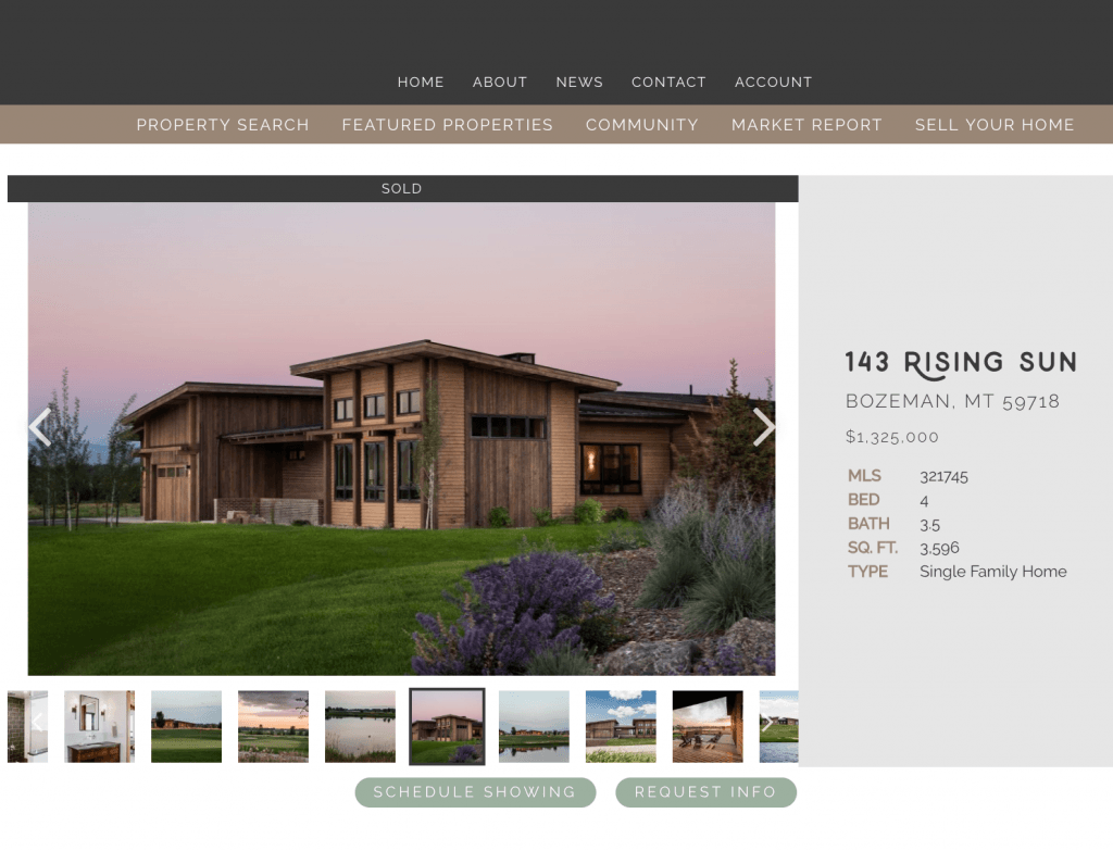 Bozeman Property Listing Website by Amelia and Greg real estate
